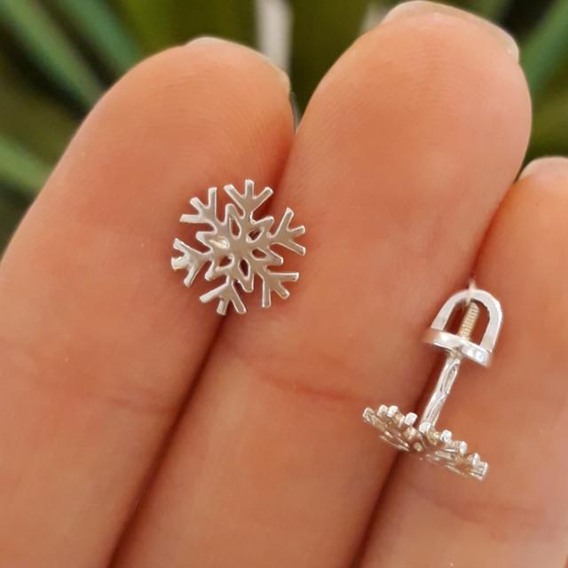 Серьги гвоздики серебро 925 Снежинки фото 1