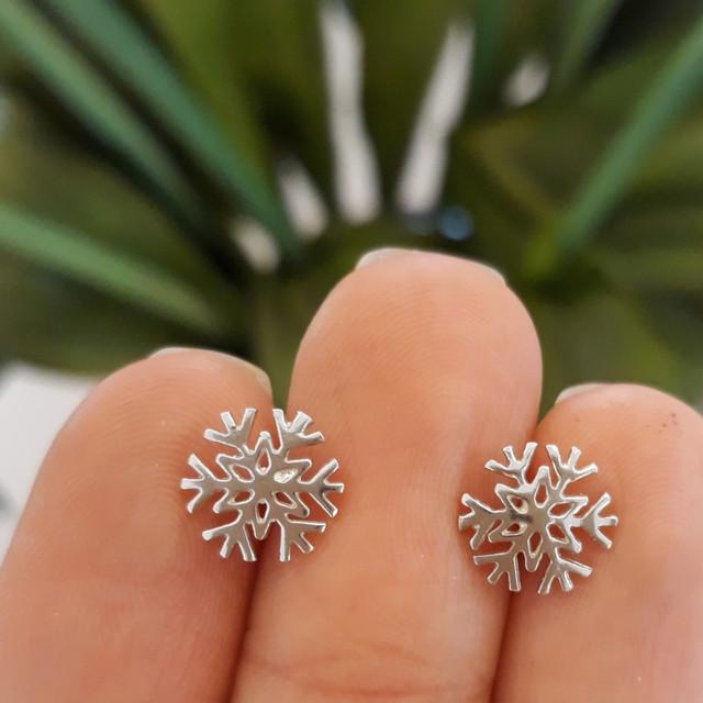 Серьги гвоздики серебро 925 Снежинки фото 4