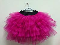 Юбка для девочки пышная из фатина ярко розовая модель №1