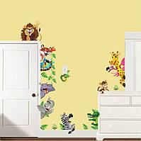 """Наклейки для детской комнаты, Виниловые наклейки """"подглядывающие звери"""" (лист30*90см)"""