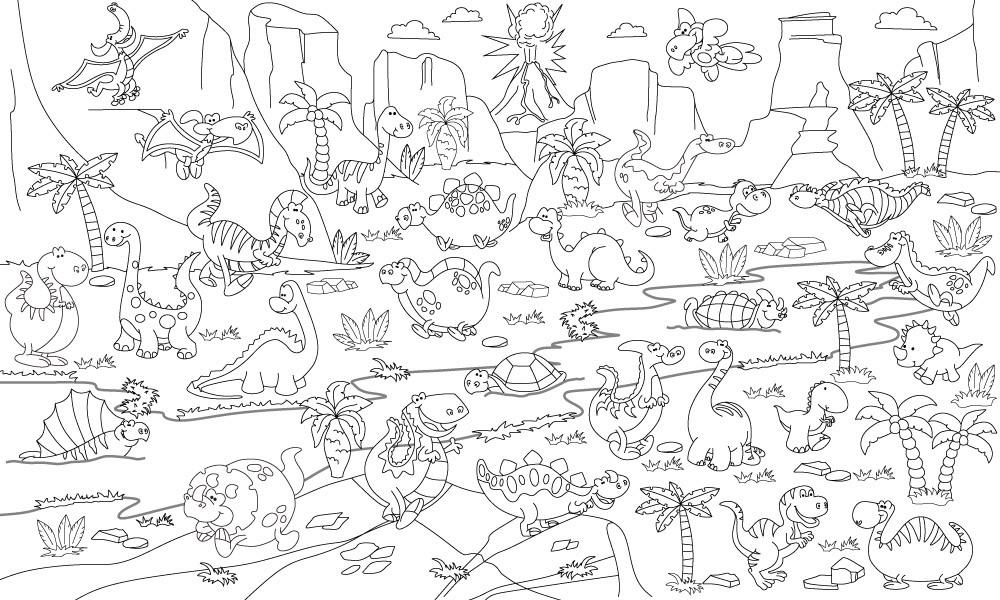 Обои-раскраски Динозавры 60*100 C-100008