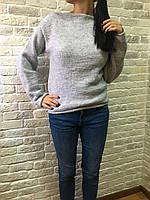Женский светло серый свитер связаный гладью ручной работы MoziOne
