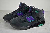 Зимние кроссовки низкие женские New Balance 580 серо-фиолетовые (реплика)