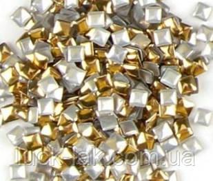 Заклепки для нігтів, квадрат 100 шт, 3 мм мікс