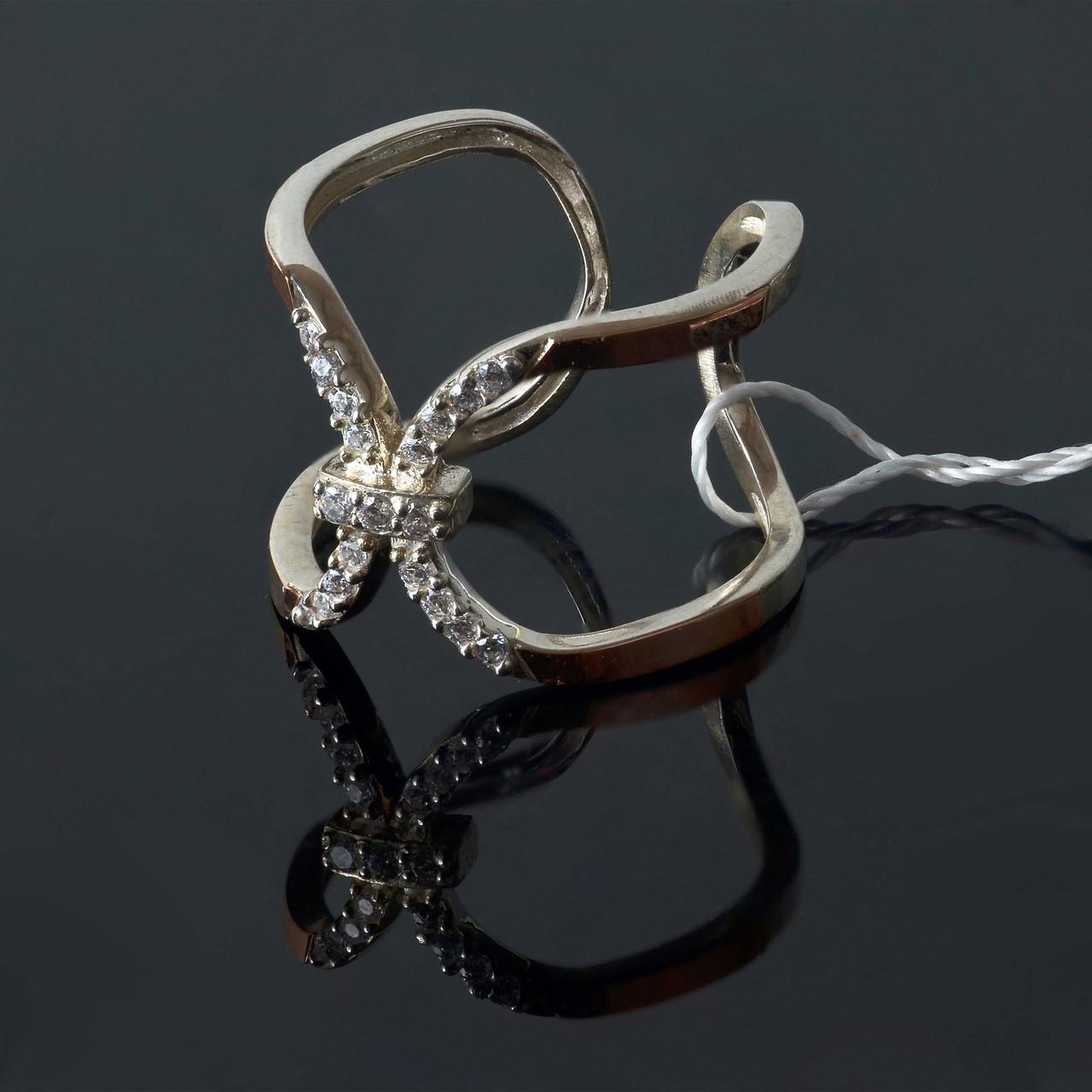 Серебряное кольцо с золотыми вставками Ариэль