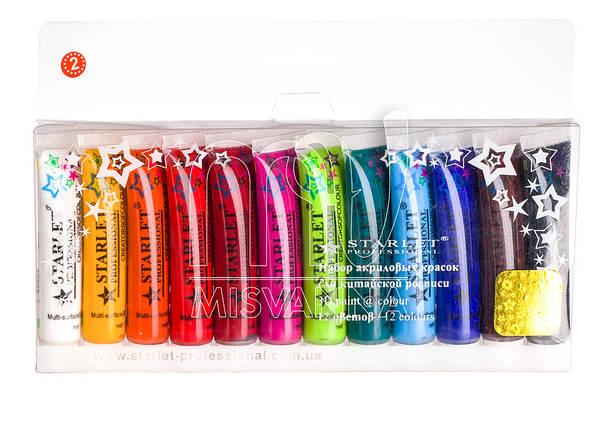 Акриловые краски набор Starlet Professional №2 12 шт по 12 мл, фото 2