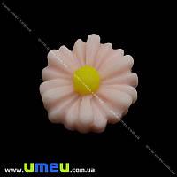 Кабошон из полимерной глины Ромашка розовая св., 13 мм, 1 шт (KAB-001969)