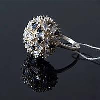 Кольцо Сфера с черными и белыми камнями