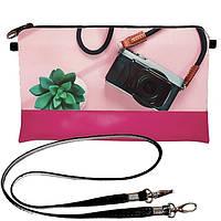 Розовый женский клатч с принтом Фотоаппарат