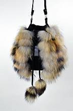 Сумка-бочонок с мехом енота