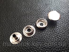Кнопка металлическая Каппа 15мм. Гладкая Турция цвет никель (720 шт в упаковке)