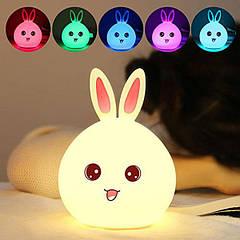 Детский 3D ночник Happy rabbit из силикагеля без проводов аккумулятор 1200маH сертификат качества