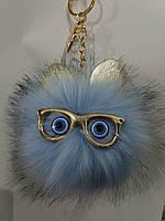 Брелки помпоны с ушками для сумок и ключей- меховые брелоки оптом (12 см) 265