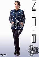 Женский удобный модный качественный Спортивный костюм большие размеры  -  7973   р-р 50 52 54 56
