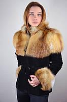 Замшевая куртка с мехом лисы