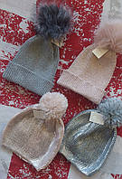 Женская серебристая шапка с помпоном , Англия, фото 1