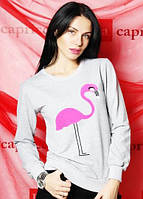 """Кофточка женская """"Фламинго"""" (цвет серый) / Женский свитер с принтом, модный"""
