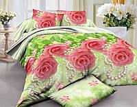 Семейный комплект постельного белья из ранфорса с простыней на резинке