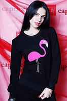 """Кофточка женская """"Фламинго"""" (цвет черный) / Женский свитер с принтом, модный"""