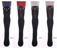 Теплые колготы с котиками для девочек