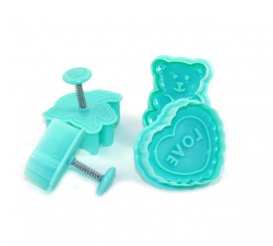 Набор из 4-х пластиковых фигурных формочек для вырезания печенья с поршнем  Fissman