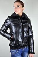 Кожаная женская куртка с норкой, черная
