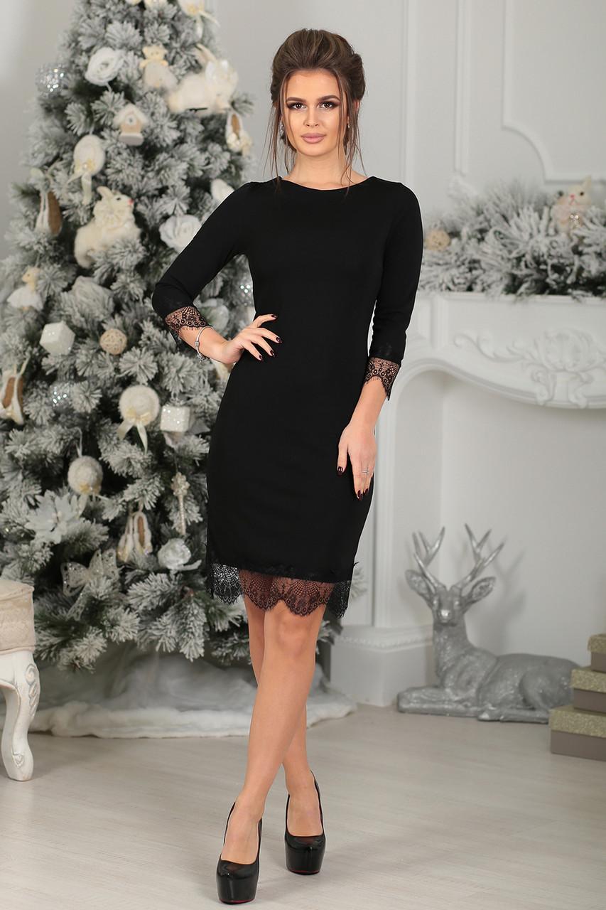 Платье трикотажное Муара в черном цвете