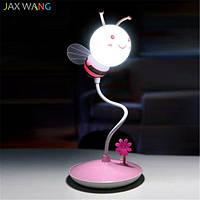 Детский 3D ночник Пчелка розовая база Лампа с аккумулятором