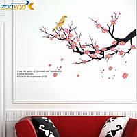 """Наклейка на стену, виниловые наклейки """"птицы на декоративном цветущем дереве"""" 60см*100см (лист60*45см)"""