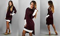 Бордовое платье 152065