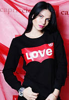 """Красивая женская кофточка """"Lоve"""" (цвет черный) / Джемпер женский с принтом, удобный"""