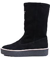 Женские замшевые ботинки на меху, черные