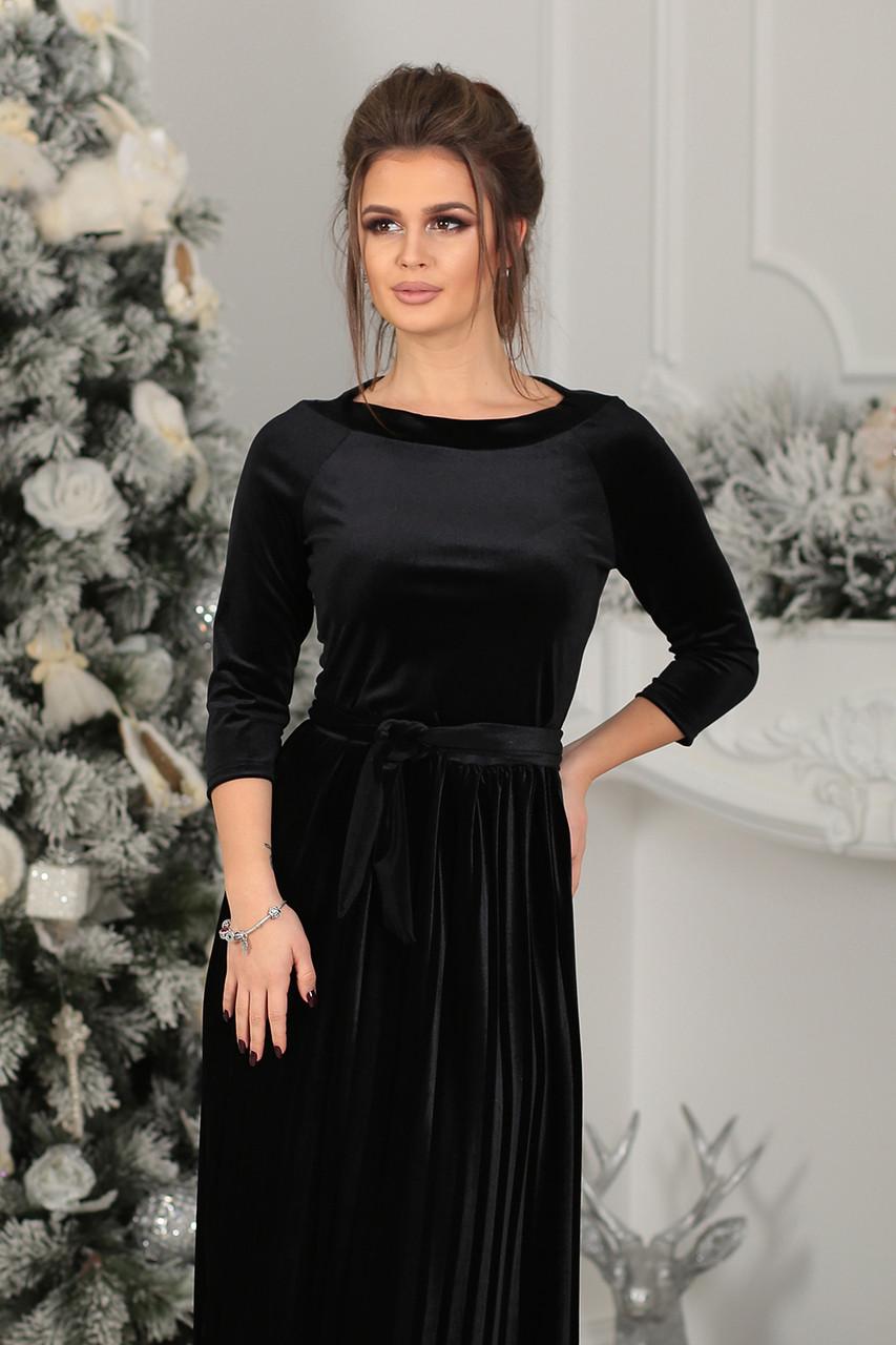 7679174d346 Платье велюровое миди в черном цвете  продажа