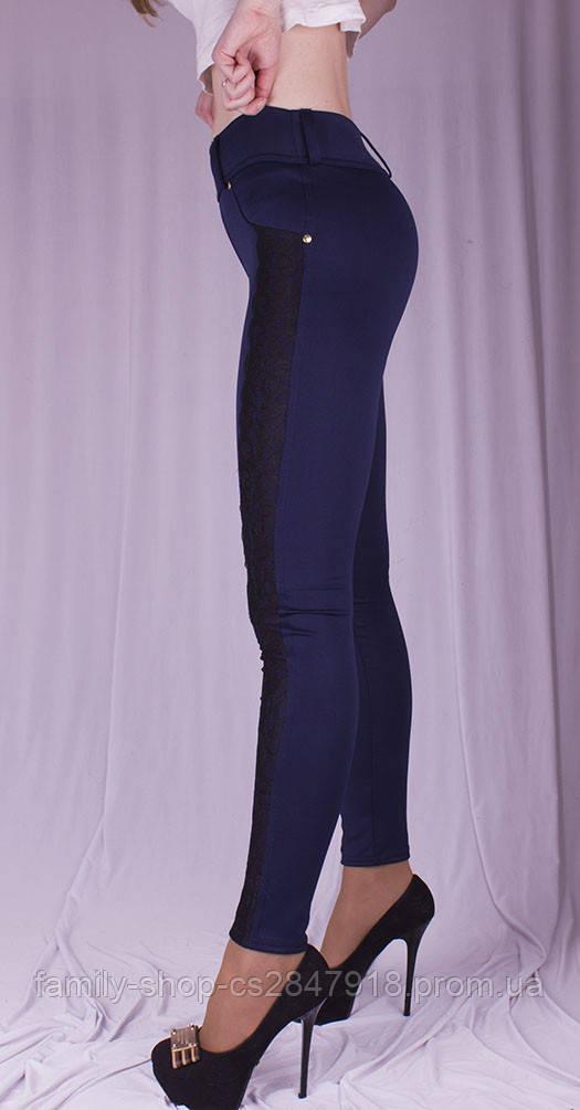 Женские леггинсы с гипюром синие, размер 40-58