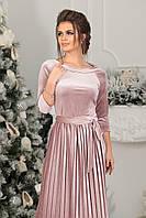 Платье велюровое миди в цвете пудра, фото 1