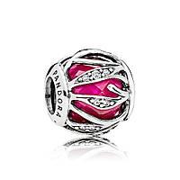 Серебряный шарм «Природное сияние королевского красного» в стиле Pandora