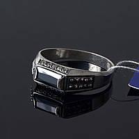 Мужское кольцо печатка - серебро с цирконами