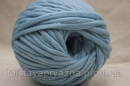 Толстая пряжа меринос 5 мм голубой