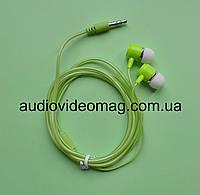 Стерео наушники вакуумные, силиконовый шнур, зеленые
