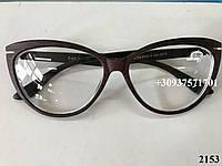 Коричневые женские очки под дерево. Модель 2153, фото 1