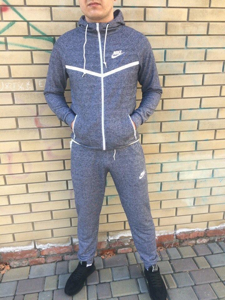 Мужской спортивный костюм Nike серый с белой молнией топ реплика