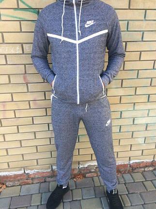 20798d4b Мужской спортивный костюм Nike серый с белой молнией топ реплика, фото 2