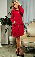 """Стильное женское платье - рубашка """" Эрнеста """"  красного цвета"""
