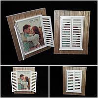 Современная рамка для фотографии со ставнями, дерево, 24х19 см., 280