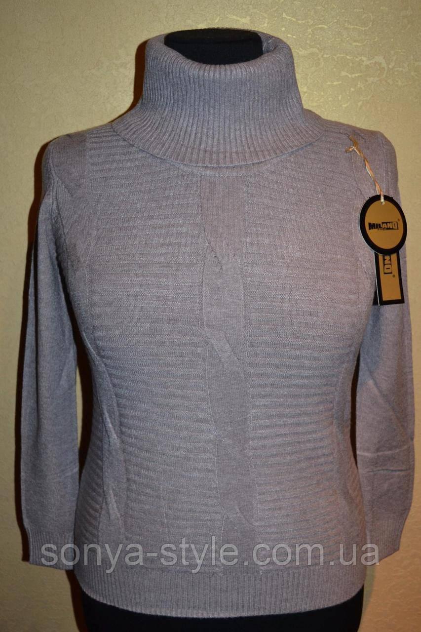 Свитер с плетением на груди 2 больших размеров