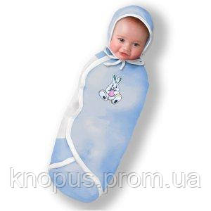 "Пеленка-кокон ""Крепкий сон Фланель 3"" голубая, Ontario Baby, Premium"