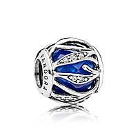 Серебряный шарм «Природное сияние королевского синего» в стиле Pandora