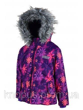 """Зимняя термокуртка """"Цветы"""" для  девочек Pidilidi, размеры 134, 152, 158"""