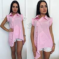 Оригинальная, женская, удлиненная рубашка ассиметрия, разные цвета.
