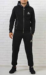 Мужской спортивный костюм Philipp Plein  с брендированой змейкой черный
